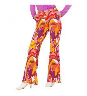 Groovy Gwendolyn 70s Dames Broek, Orchidee