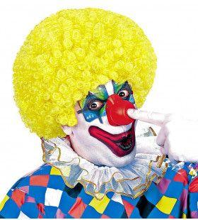 Afro Clownpruik Krullen, Geel