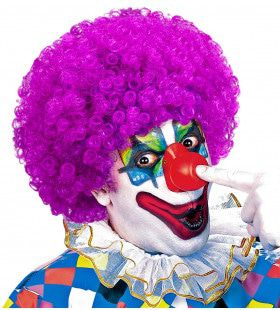 Afro Clownpruik Krullen, Paars
