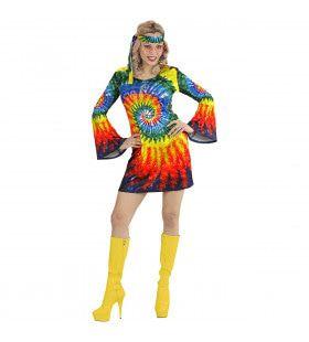 Psychedelische Tie Dye Hippie Vrouw Kostuum