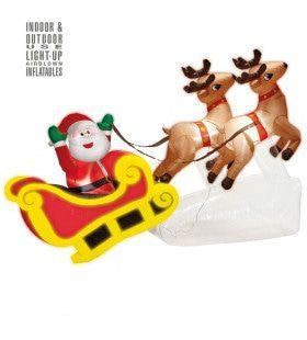 Opblaasbare Kerstman Met 2 Rendieren 244cm