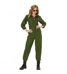 Groene Piloot Gevechtsvliegtuig Leger Overall Vrouw Kostuum