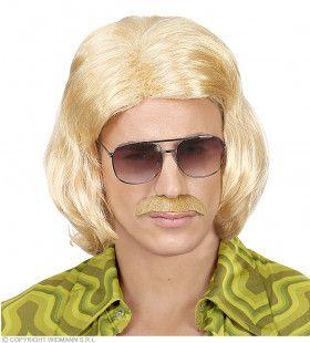 Foute Blonde 70s Dandy Pruik En Snor