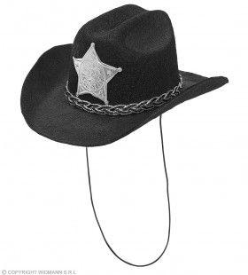 Mini Cowboy Hoed Met Ster Sheriff Zwart