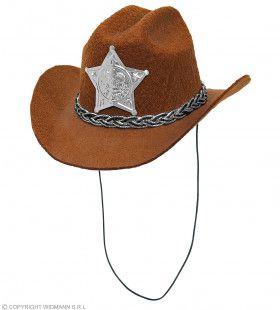 Mini Cowboy Hoed Met Ster Sheriff Bruin