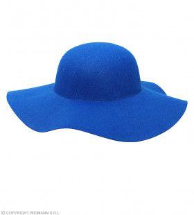 Blauwe Hippie Hoed Brede Rand