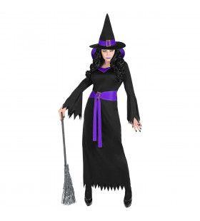 Diep Duistere Zwart Paarse Halloween Heks Vrouw Kostuum