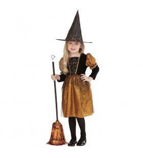 Gouden Sterren Halloween Heks Meisje Kostuum