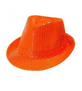 Neon Oranje Fedora Hoed Met Pailletten