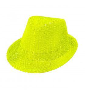 Neon Gele Fedora Hoed Met Pailletten
