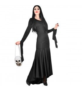 Lang Zwart Fladderend Morticia Addams Family Vrouw Kostuum