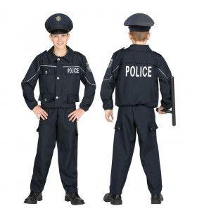 Politie Agent Rust In De Wijk Jongen Kostuum