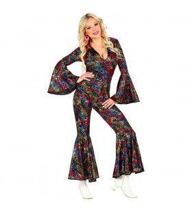 Hippie Draaien In De Disco Jaren 70 Stippen Jumpsuit Vrouw Kostuum