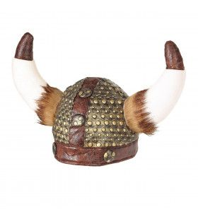 Viking Helm Met Horens En Vacht