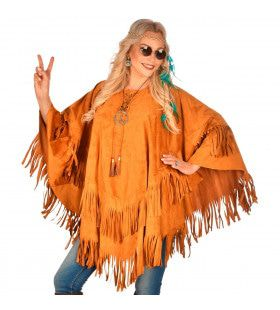 Poncho Met Franjes Prairie Hippie Kostuum