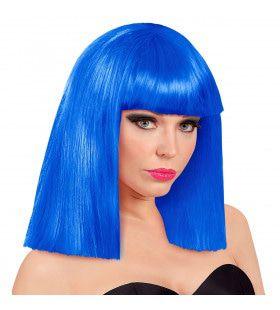 Pruik Showgirl Steil Haar Blauw
