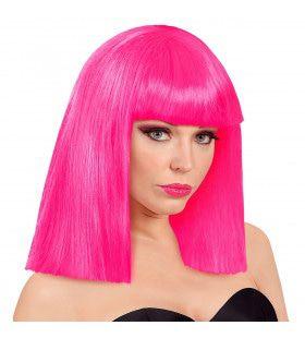 Pruik Showgirl Steil Haar Neon Roze