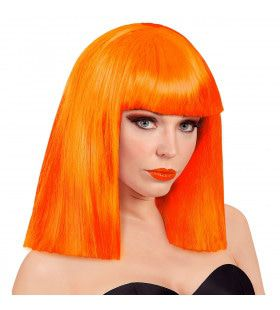 Pruik Showgirl Steil Haar Neon Oranje