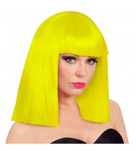 Pruik Showgirl Steil Haar Neon Geel