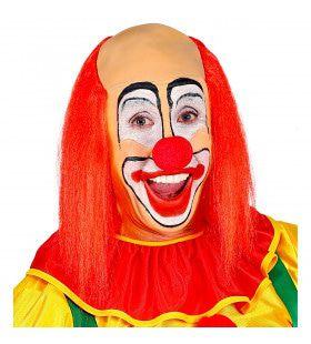 Kale Schedel Met Lang Rood Haar Clown