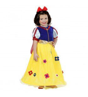 Sprookjesboek Prinses Sneeuwwitje Met Bloemen Meisje Kostuum