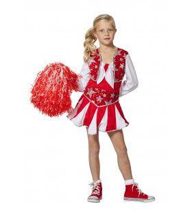 Dansende Cheerleader Luxe Rood Meisje Kostuum