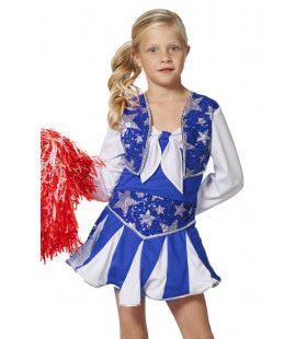 Dansende Cheerleader Luxe Blauw Meisje Kostuum