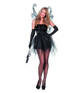 Vlinder Zwart Met Vleugels Vrouw Kostuum