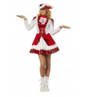Fancy Rood Witte Dansmarieke Vrouw Kostuum