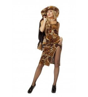 Pimp Queen Leopard Vrouw Kostuum