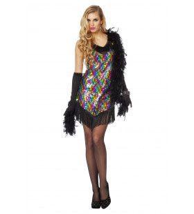 Kleurrijk Glitter Charleston Vrouw Kostuum
