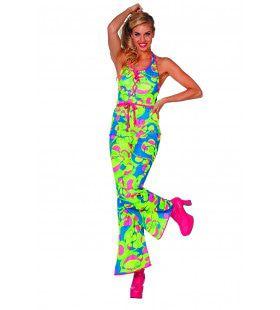 Catsuit Seventies Neon Vrouw Kostuum