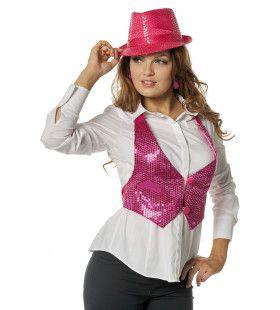 Paillettenvestje Glitter Roze Vrouw