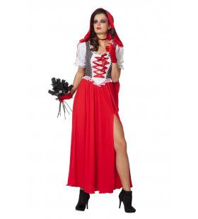 Dame Met Rode Cape, Lang En Stijlvol Vrouw Kostuum