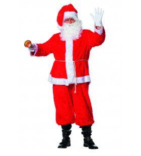 Knalrode Kerstman Pluche Kostuum