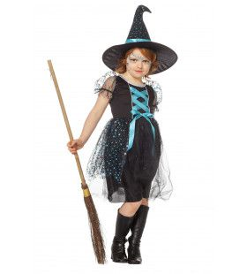 Hemelse Heks Met Hoed Turquoise Meisje Kostuum