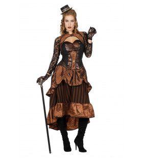 Steampunk Victoria Bruin Vrouw Kostuum