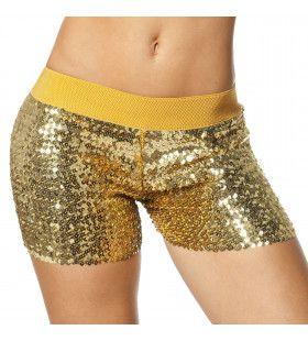 Hotpants Pailletten Goud Vrouw