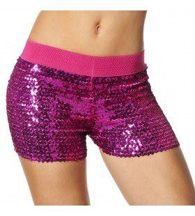 Hotpants Pailletten Roze Vrouw