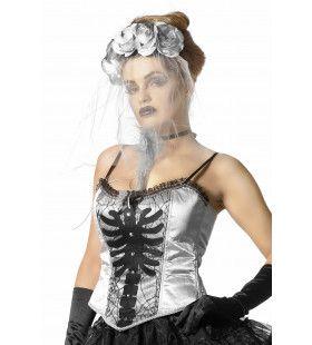 Korset Zilver Met Skelet Print En Spinnenwebben