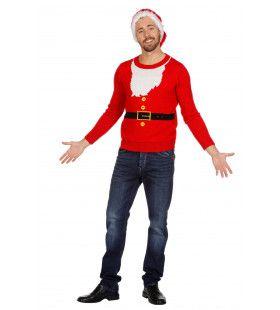 Kersttrui Rood Santa Met Baard Op Trui