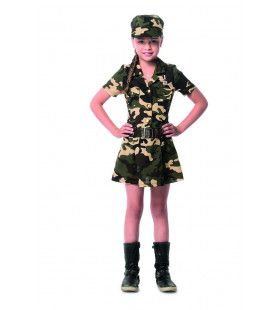 Camouflage Commando Karin Kostuum Groen Meisje