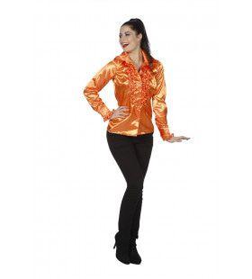 Disco Dame Blouse Ruches Oranje Vrouw