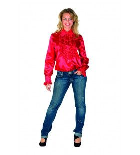 Glimmende Rode Ruches Blouse Vrouw