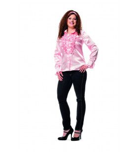 Disco Dame Ruches Blouse Lichtroze Vrouw