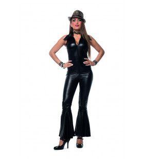 Disco Catsuit Zwarte Nacht Vrouw Kostuum