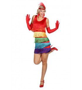 Charleston Raving Twenties Regenboog Vrouw Kostuum