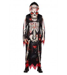Grote Bloederige Kop Skelet Man Kostuum