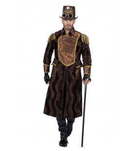 Steampunk Jas Satijnen Glans Officier Man