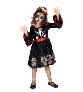 Prachtige Schedels Day Of The Dead Met Diadeem Meisje Kostuum